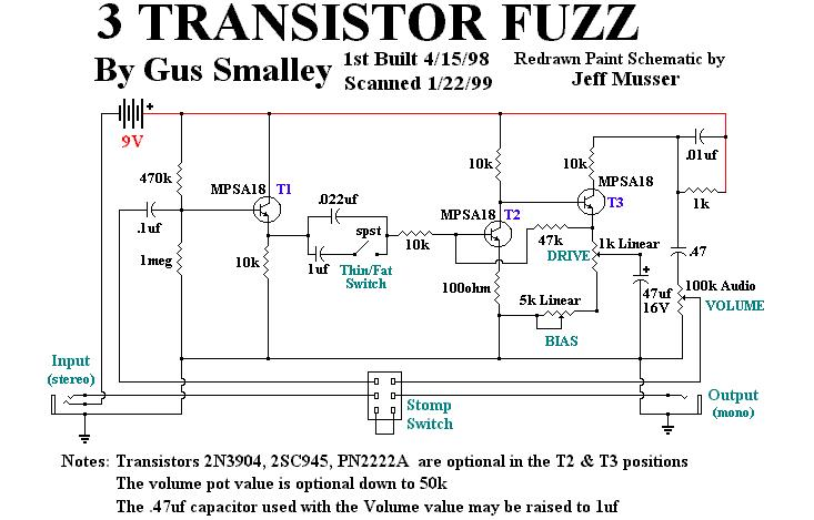 schematics general guitar gadgets Full Boost Schematic 3 transistor fuzz (gus smalley\u0027s)